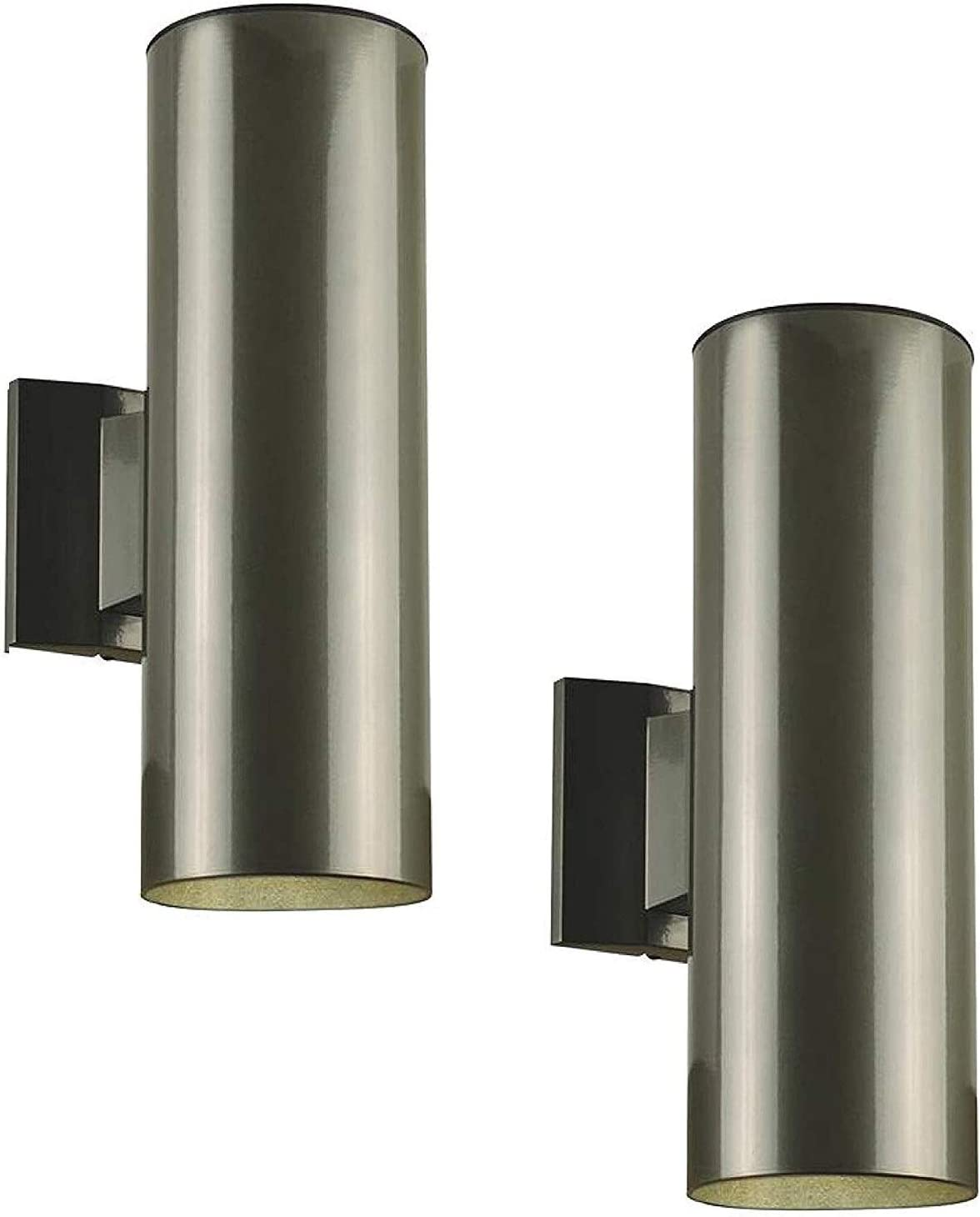 Dysmio Lighting Outdoor Wall Fixture, Up and Down Light, Polished Graphite Finish on Steel Cylinder - Pack of 2