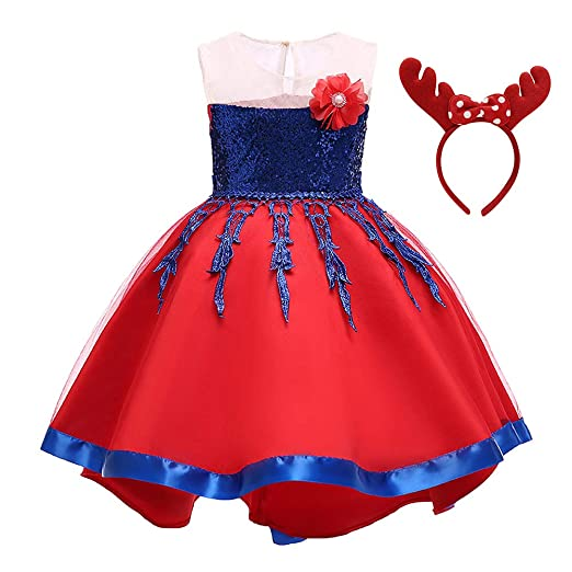 5253740f1 Amazon.com: Baby Girls Christmas Princess Sequin Birthday Party Fancy  Pageant Dress Up Costume Outfits w/Polka Dot Elk Ears Headband: Clothing