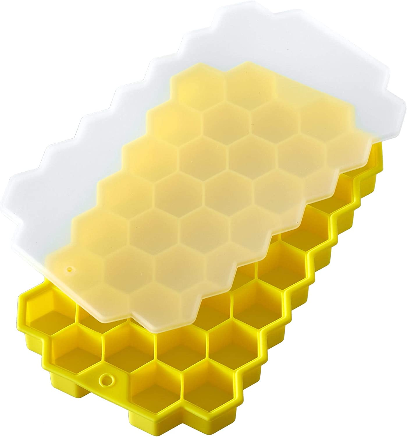 PrimeMed Stackable Honeycomb Ice Cube Trays – Food Grade Silicone Reusable Ice Mold (Yellow) (1 Pack)
