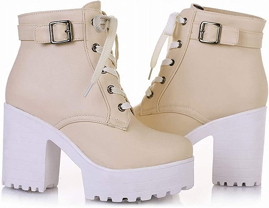 Details about  /Women Round Toe Platform Block Heel Lace Ups Motor Ankle Boots 34-43 Outdoor D