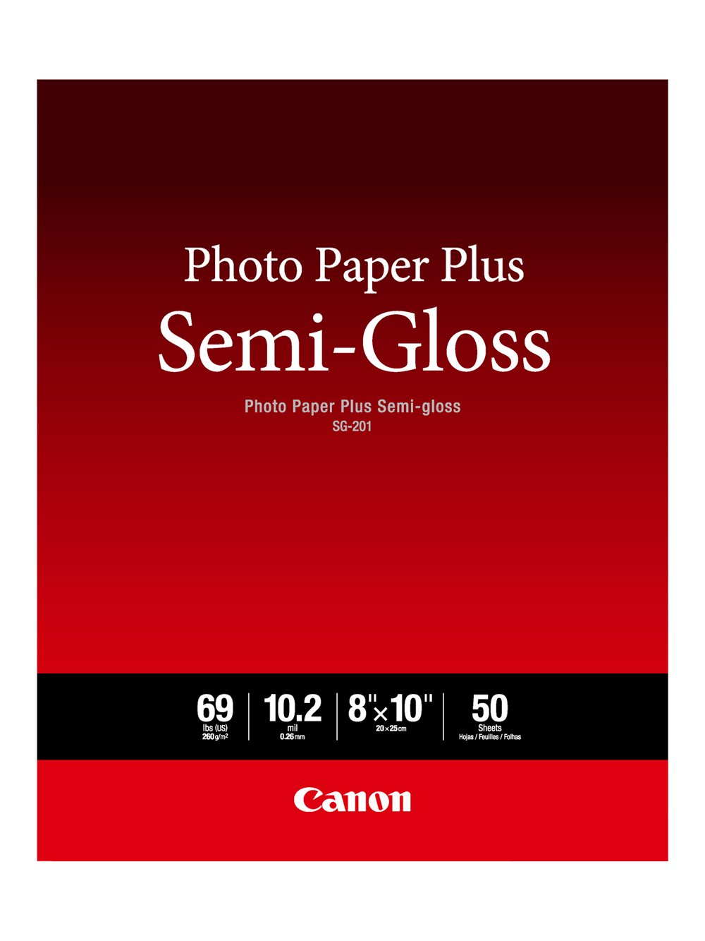 Canon Photo Paper Plus Semi-Gloss 8 x 10 (50 Sheets) (SG-201 8X10) Canon Office Products SG-201 8X10(50)