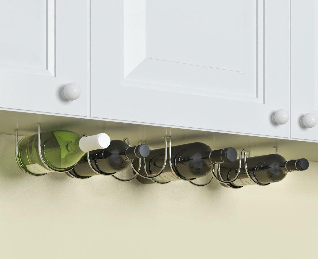 WALLNITURE Under Cabinet Wine Storage Rack for 6 Liquor Bottles Chrome Finish Set of 2 by Rack and Hook