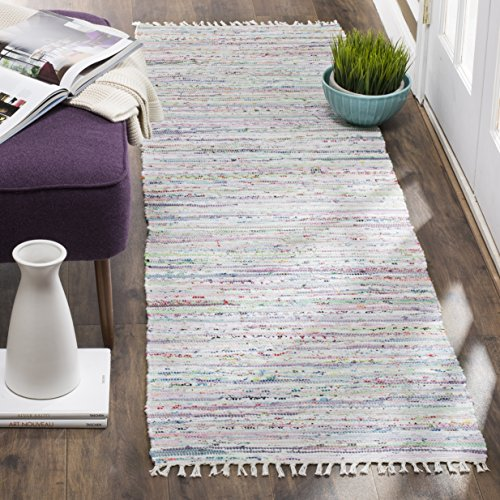Safavieh Rag Rug Collection RAR125D Hand Woven Light Green and Multi Cotton Runner (2'3