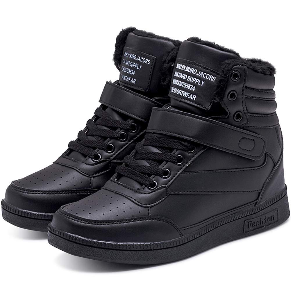 wealsex Basket Montante Compens/ées Femme Scratch Lacets PU Cuir Chaussure Mode Confort
