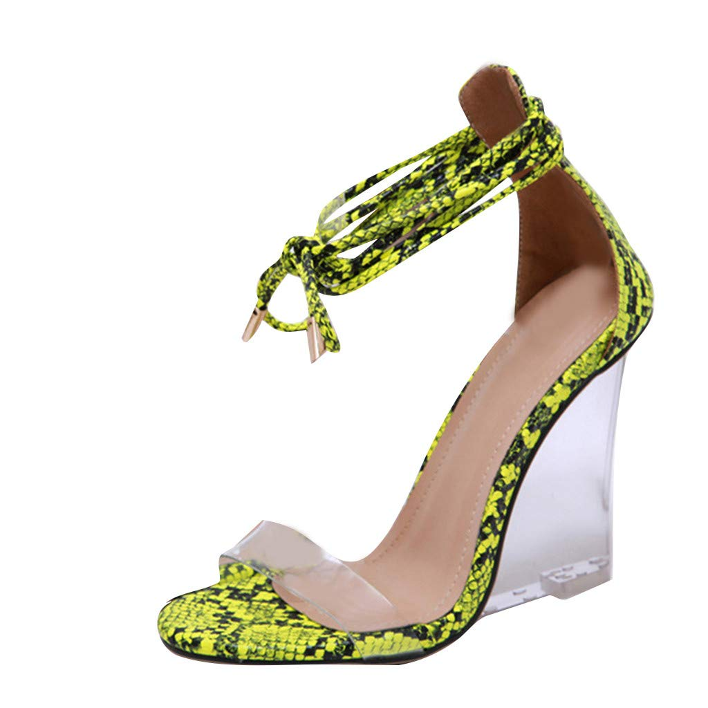 Orangeskycn Summer Women High Heele Sandals Roman Serpentine Band Transparent Crystal Slope-Heeled Ladies Sandals Green