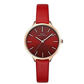 IBSO Female Watches Leather Strap Round Case Fashion Women Watch for Sale(6603-Red