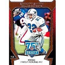 Emmitt Smith football card (Dallas Cowboys Hall of Fame) 2010 Topps Draft #75DA30