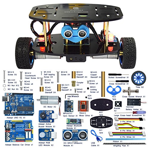 Adeept 2-Wheel Self-Balancing Upright Car Robot Kit for Arduino UNO R3, MPU6050 Accelerometer Gyroscope Sensor + TB6612 Motor Driver, Obstacle Avoidance + Android APP Remote Control, Robot Starter Kit -