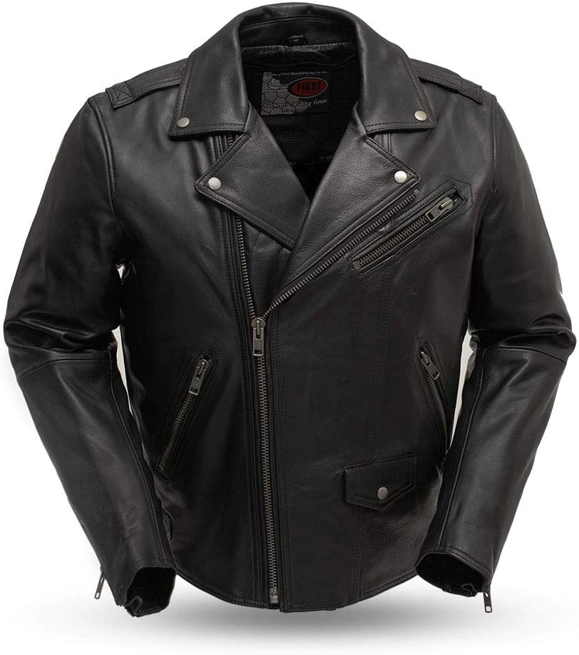 Black, X-Large First Mfg Co Mens Leather Motorcycle Jacket