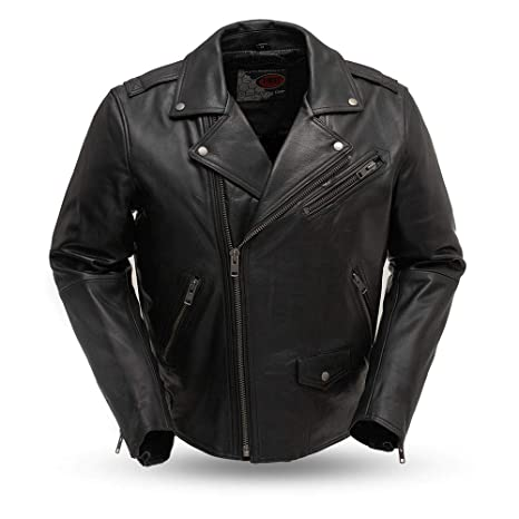 First Mfg Co Mens Leather Motorcycle Jacket (Black, Small)
