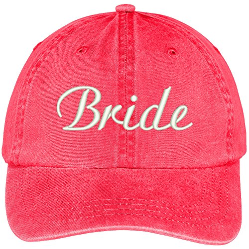 Trendy Apparel Shop Bride Embroidered Wedding Party Pigment Dyed Cotton Cap - Red (Baseball Hat Wedding)