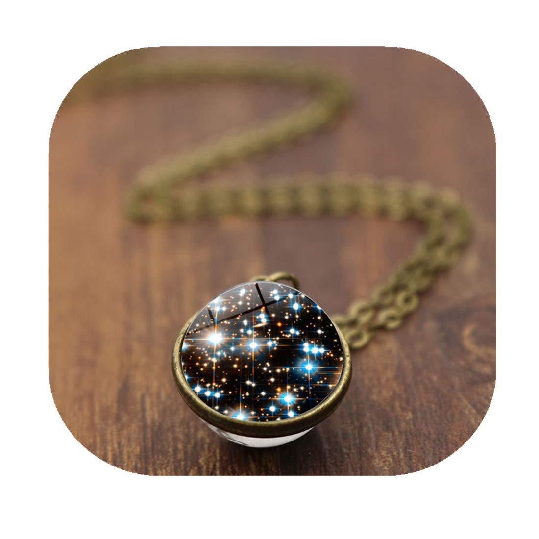 CHENCAN01 Nebula Necklace,Space Pendant,Galaxy Necklace,Galaxy Pendant,Glass Dome Necklace,Universe Pendant (Bronze & 16mm)