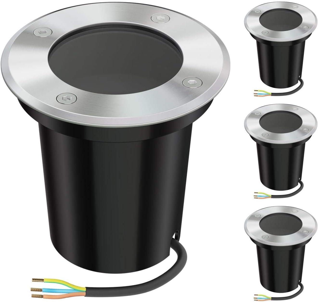 ledscom.de Foco empotrable en el suelo BOLI para exteriores redondo de acero inoxidable IP67 108mm Ø sin bombilla (GU10/PAR16), 4pcs.