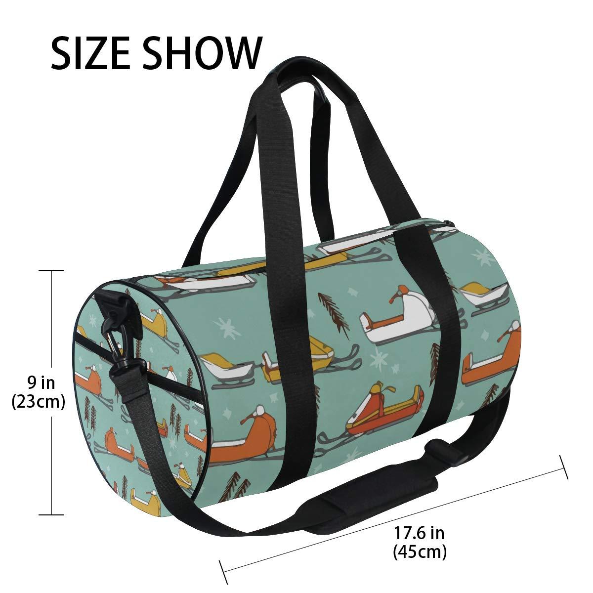 Sports Gym Duffel Barrel Bag Snowmobiles Vintage Mustard Orange Travel Luggage Handbag for Men Women