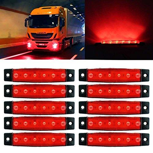 10pc DC12V 6LED Side Marker Light Front Rear Indicator Signal Lamp for Truck Trailer Red: