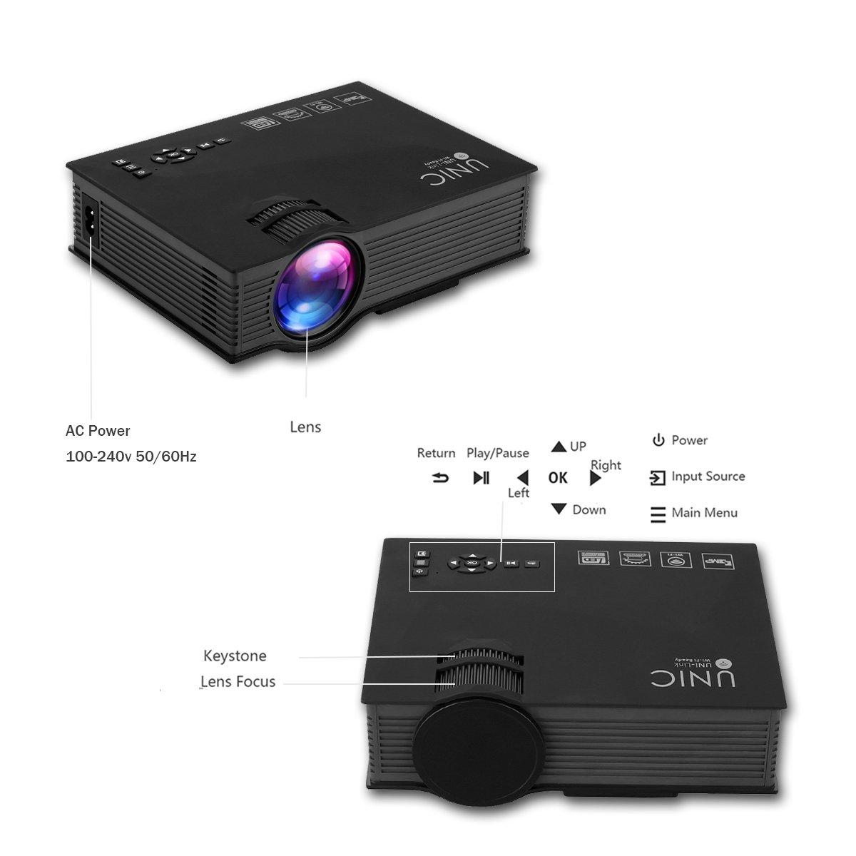 UNIC uc46 + - Proyector HD 1080P duplicacion funda PC WIFI Cable ...