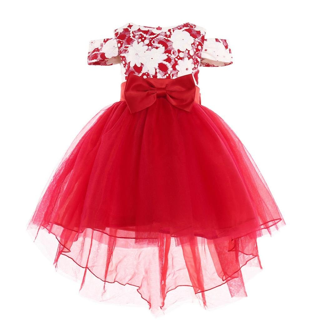 KONFA Teen Toddler Baby Girls Bowknot Pageant Dress,Suitable for 1-7 Years Old,Little Princess Sleeveless Party Skirt Set