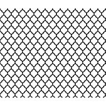 Moroccan Fabric Moroccan Quatrefoil White With Black Lattice by Spacefem Printed on Cotton Poplin Ultra Fabric by the Yard by Spoonflower