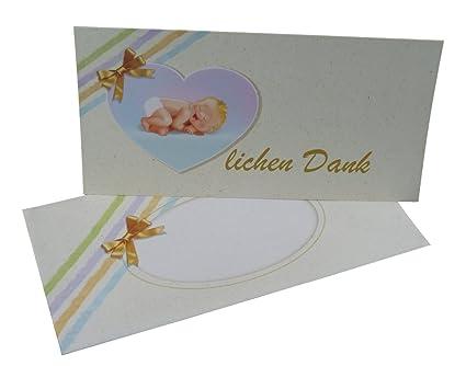 Dankeskarten Baby Set 12 Mal Danke Sagen Mit Den Dankeskarten Zur Geburttaufe Mit Umschlag Und Zum Foto Einstecken Geeignet Für Junge Und Mädchen