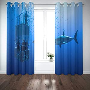 EMMTEEY White Shark Cage Great Swims Around The 52X63 Window Curtain Panels Kids Boys Girls 2 Panel Sets for Living Room Bedroom Décor