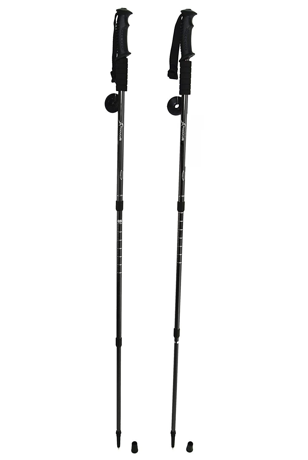 Prosource Fit Anti-Shock Trekking//Hiking//Walking Poles Adjustable Set of 2 Aluminum Telescopic Poles with Compass and Wrist Strap Black ProSource Discounts Inc ps-1060-trk-black