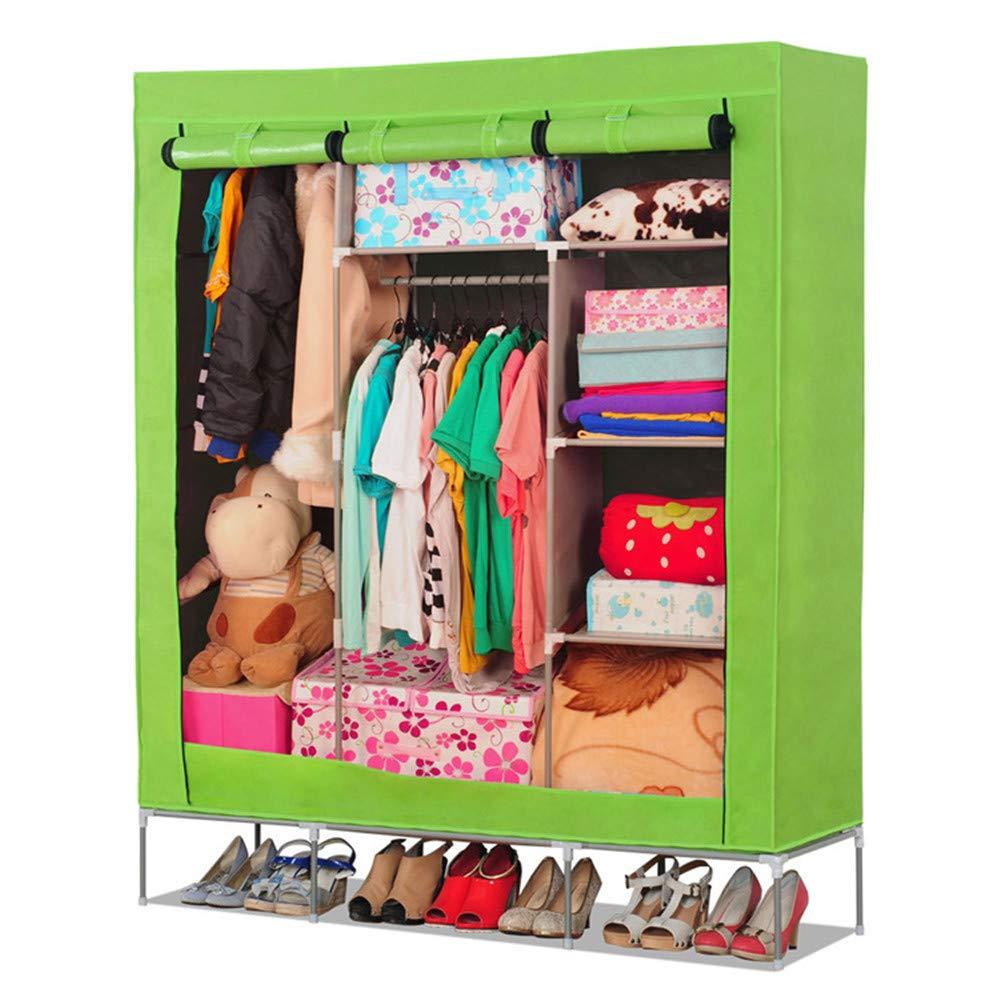 Kindlov-hom Canvas Wardrobe Cloth Closet Portable Bedroom Furniture Clothes Closet Non-Woven Fabric Wardrobe Folding Cloth Storage Organizer for Dorm Apartment Bedroom (Color : Grass Green) by Kindlov-hom