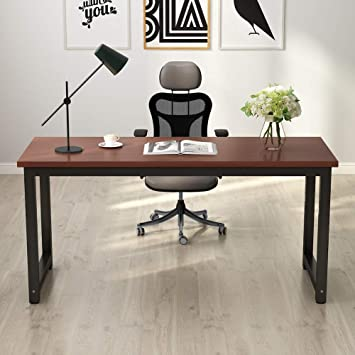 Amazon Com Tribesigns Modern Computer Desk 63 Inches Large Office Desk Computer Table Study Writing Desk For Home Office Solid Metal Frame Furniture Decor