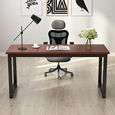 Tribesigns Modern Computer Desk, 63  Large Office Desk Computer Table Study Writing Desk for Home Office, Solid Metal Frame