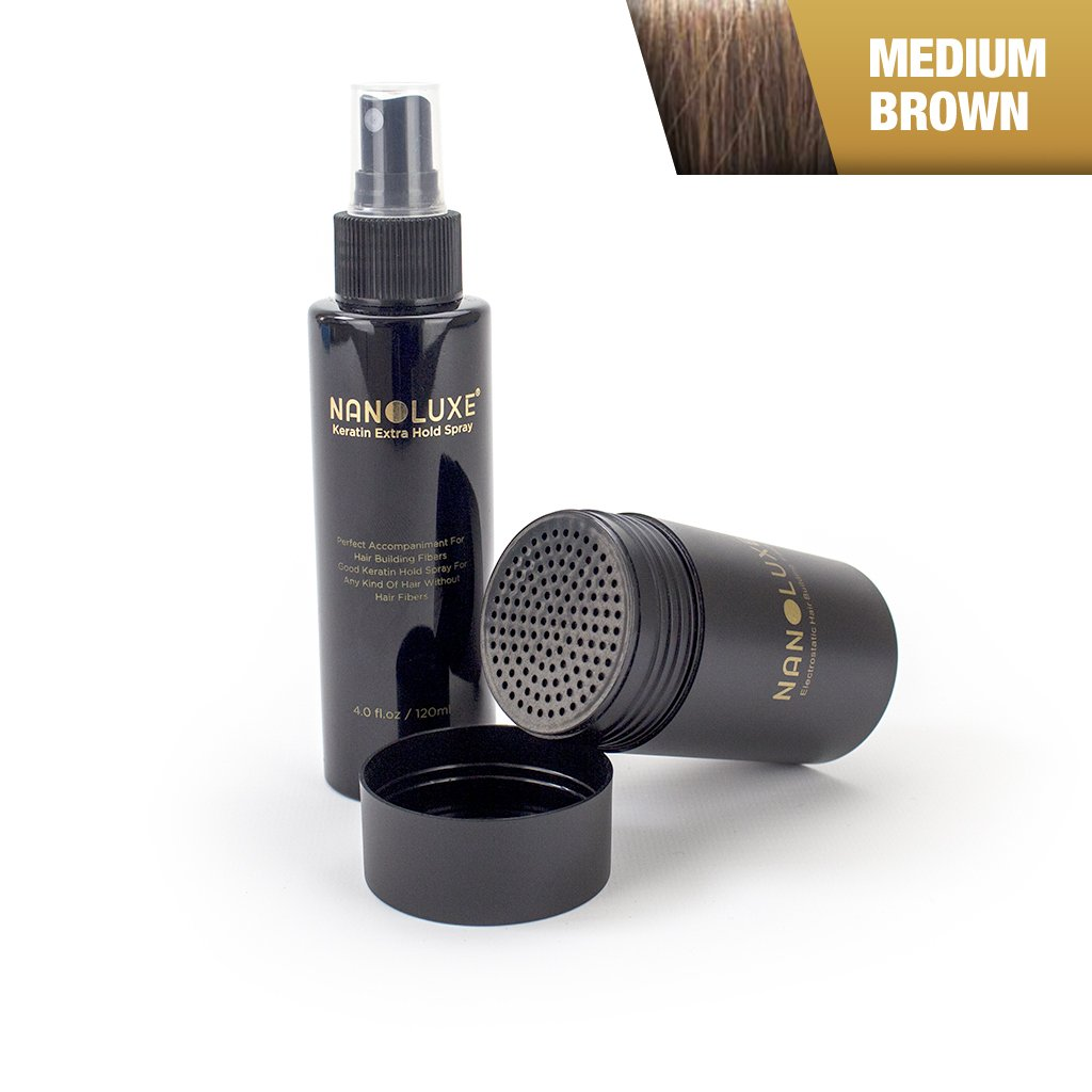 nanoluxe color marrón medio pelo Fibras 25 G & Hold Spray 120 ml: Amazon.es: Belleza