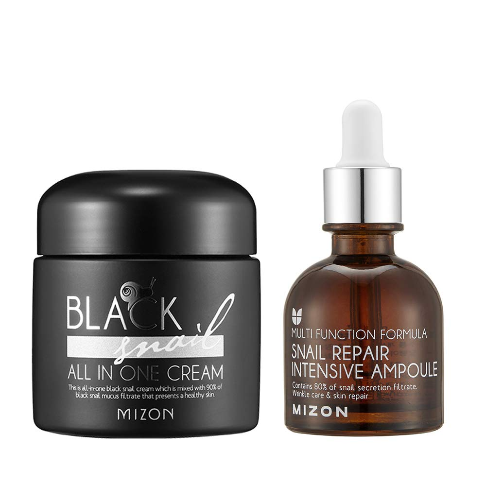 Mizon Black Snail All in One Cream + Snail Repair Intensive Ampoule for Face