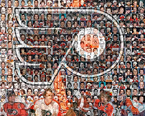 NHL Philadelphia Flyers Photo Mosaic Print Art Designed Using 100 of the Greatest Flyer Players of All Time. 8x10