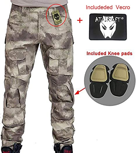 SGOYH Multi-pocket Duty Pants Paintball Shooting BDU Tactical Airsoft Trousers Long Sleeve Shirts with Knee Pads /& Elbow Pads