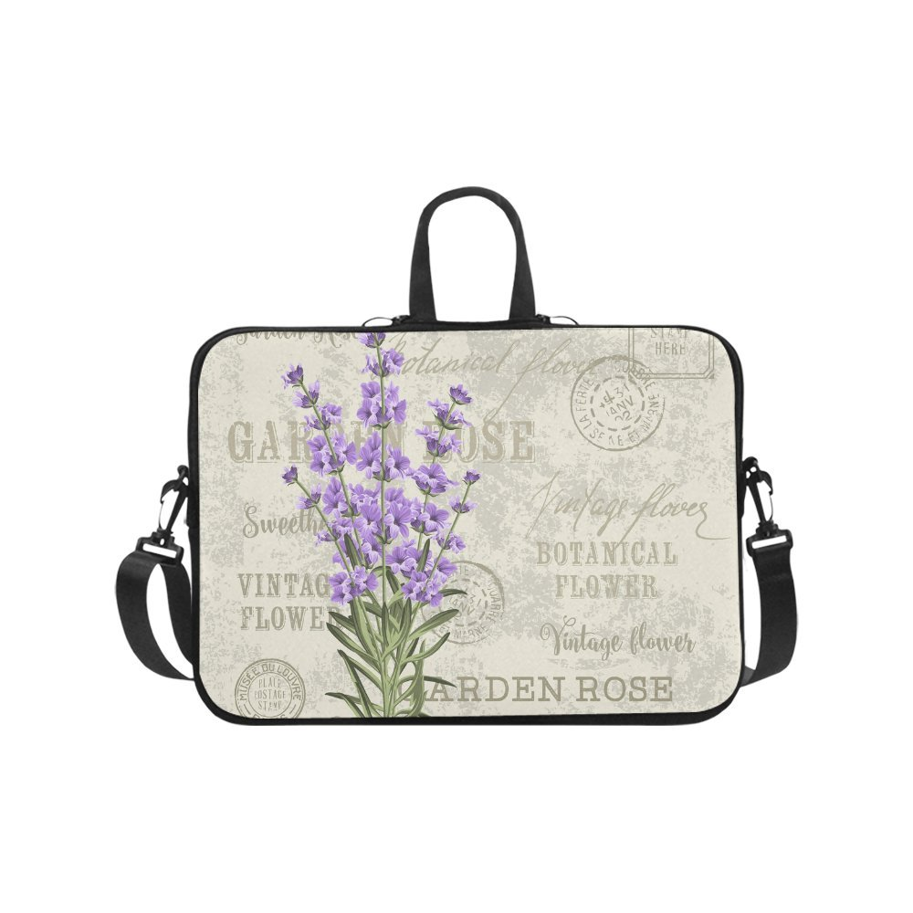 InterestPrint Elegant Postcard Lavender Flowers Vintage Floral Waterproof Neoprene 17 17.3 Inch Laptop Sleeve Case Shoulder Bag with Handle & Strap for Dell HP Lenovo Thinkpad Acer Tablet Woman Man