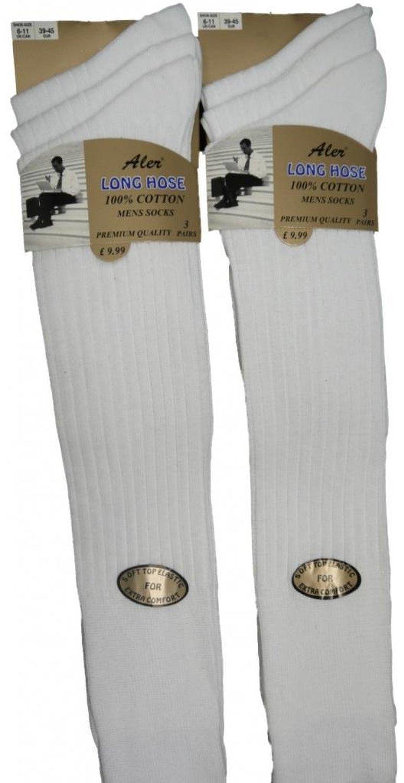 6 Pairs Mens Ribbed Long Hose 100% Cotton Soft Top Socks / UK 6-11