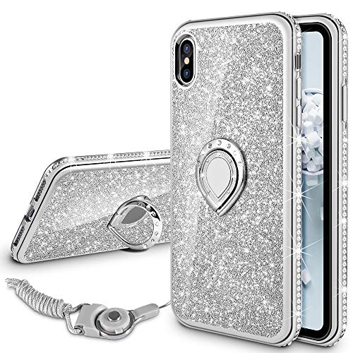 VEGO Case Compatible with Apple iPhone Xs Max, Glitter Case for Girls Women Fancy Cute Fashion Sparkling Bling Rhinestone with Kickstand Ring Holder for iPhone Xs Max(Silver) ()