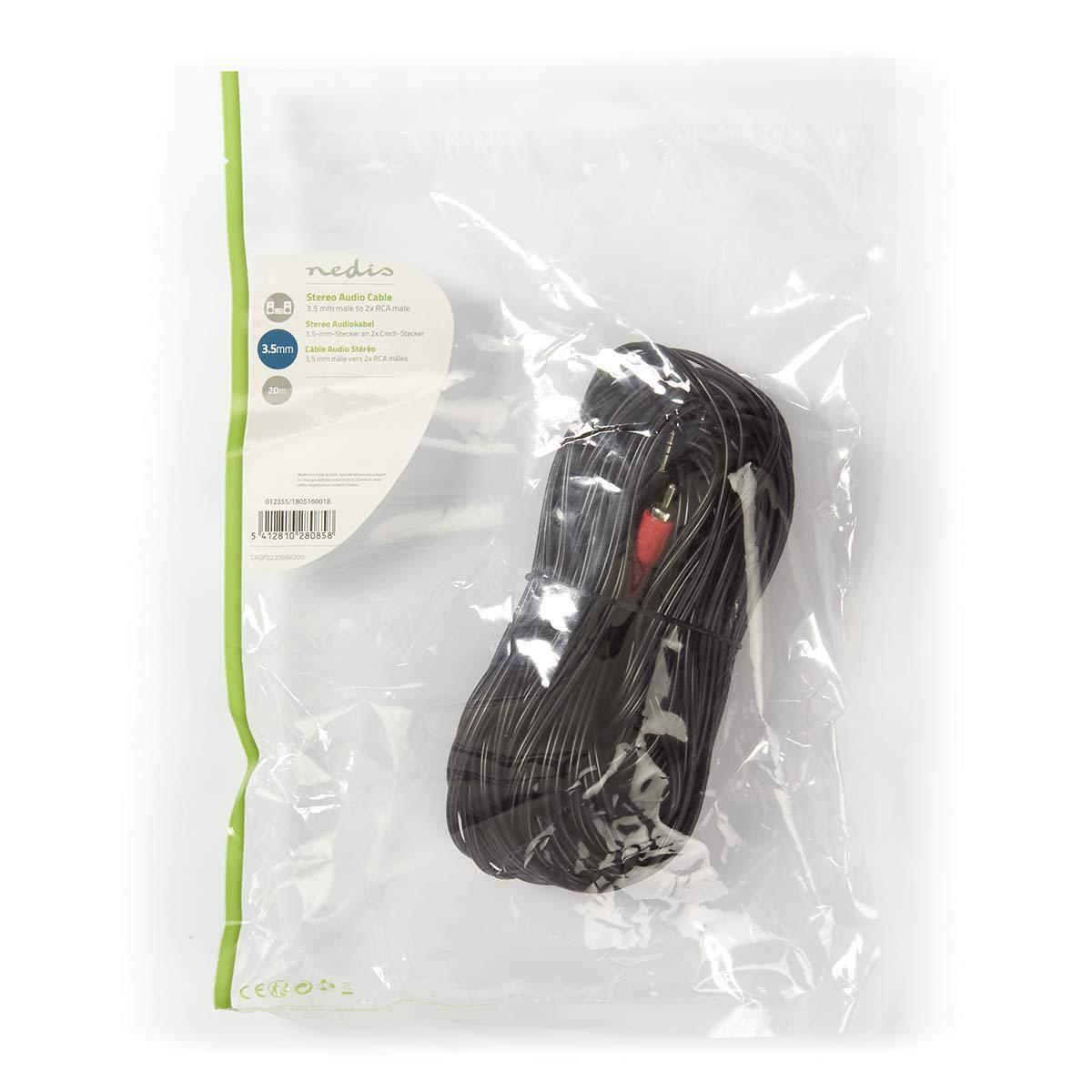 Cable de audio conector est/éreo de 3,5mm Macho a 2 conectores RCA Phono Macho Valueline VLAP22200B100 Valueline VLAP22200B100 10m