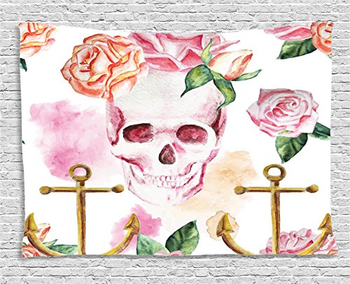 Skull Decorations Tapestry Wall Hanging by Ambesonne, Nautical Anchor with Flowers Roses Peonies Vintage Art Decor Print, Bedroom Living Room Dorm Decor, 80 W X 60 L Inches, White Pink Brown Green (Pink Brown Wall Decor)