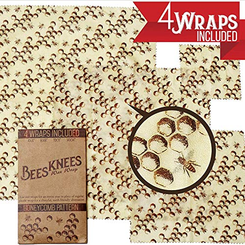 Bee's Knees Wax Wrap 4 Pack, Reusable Beeswax Food Wrap, Designed in Oregon