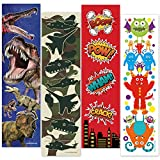 48 Bookmarks for Boys (Dinosaur, Military Camo, Monsters, Superhero) Bulk Variety Teacher Supply Pack - Birthday Party Favors - Student Prizes - Teacher Rewards - Reading Incentives - School Store