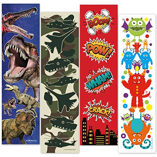48 Bookmarks for Boys (Dinosaur, Military Camo, Monsters, Superhero) Bulk Variety Teacher Supply Pack - Birthday Party Favors - Student Prizes - Teacher Rewards - Reading Incentives - School Store by Old Blue Door Invites