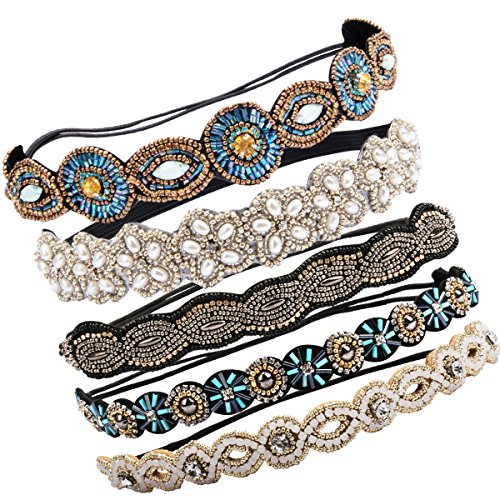 Beaded Elastic - Cubaco 5 Pack Rhinestone Beaded Elastic Headband, Fashionable Handmade Crystal Beaded Elastic hairbands Lady Women Girls Hair Jewelry Accessories