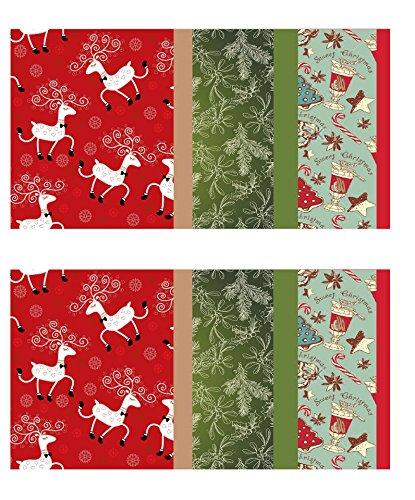 Vintage Kraft Tissue Paper (Christmas Reindeer-Mistletoe-SodaShoppe Prints) 2-Pack, 204 Sheets Total]()