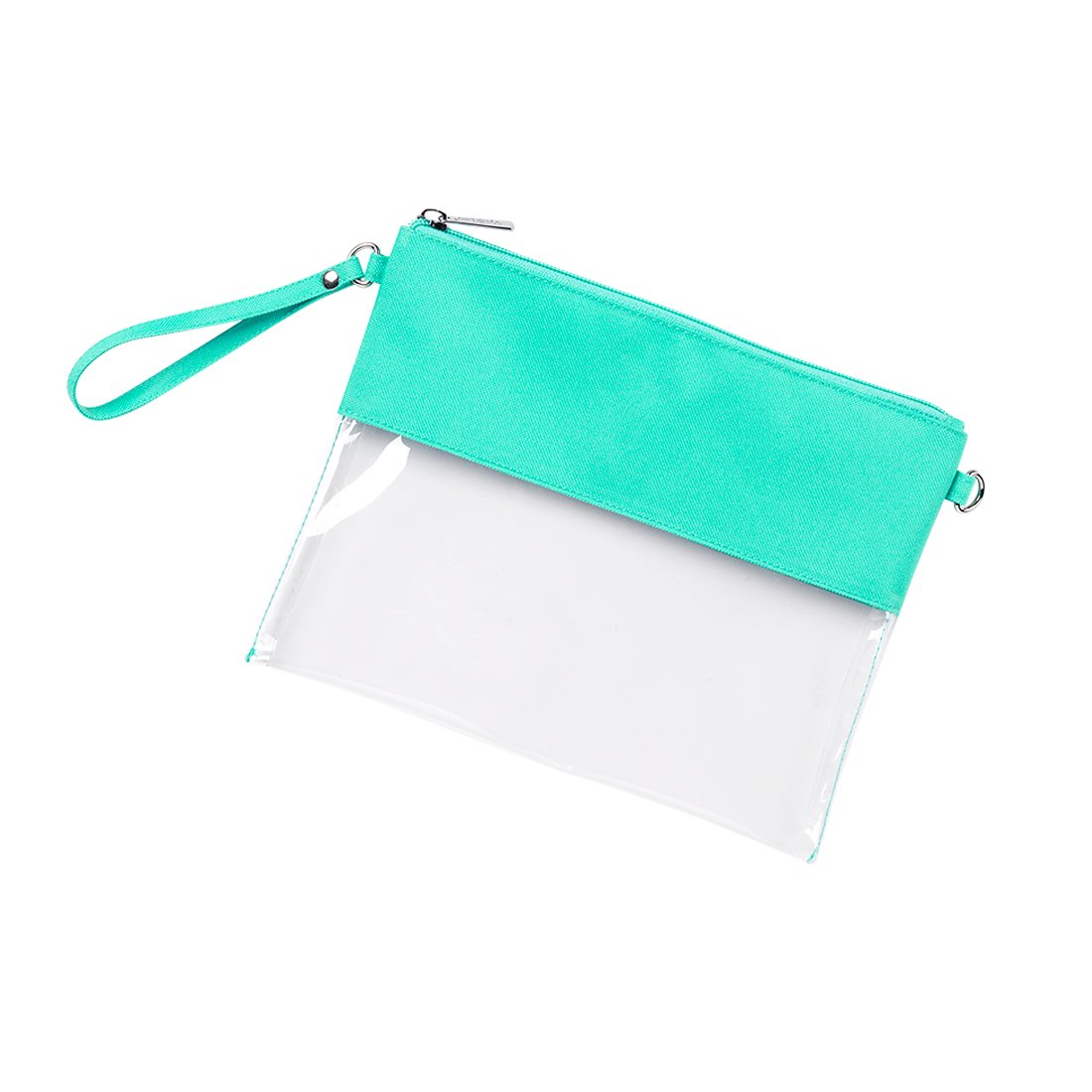 Custom Stadium Clear Zip Pouch with Detachable Crossbody Strap and Wristlet (Personalized Mint)