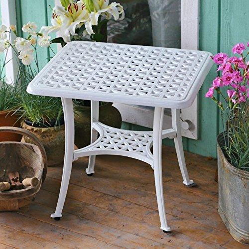 Sandra mesa blanca de centro cuadrada para jardín: Amazon.es: Hogar