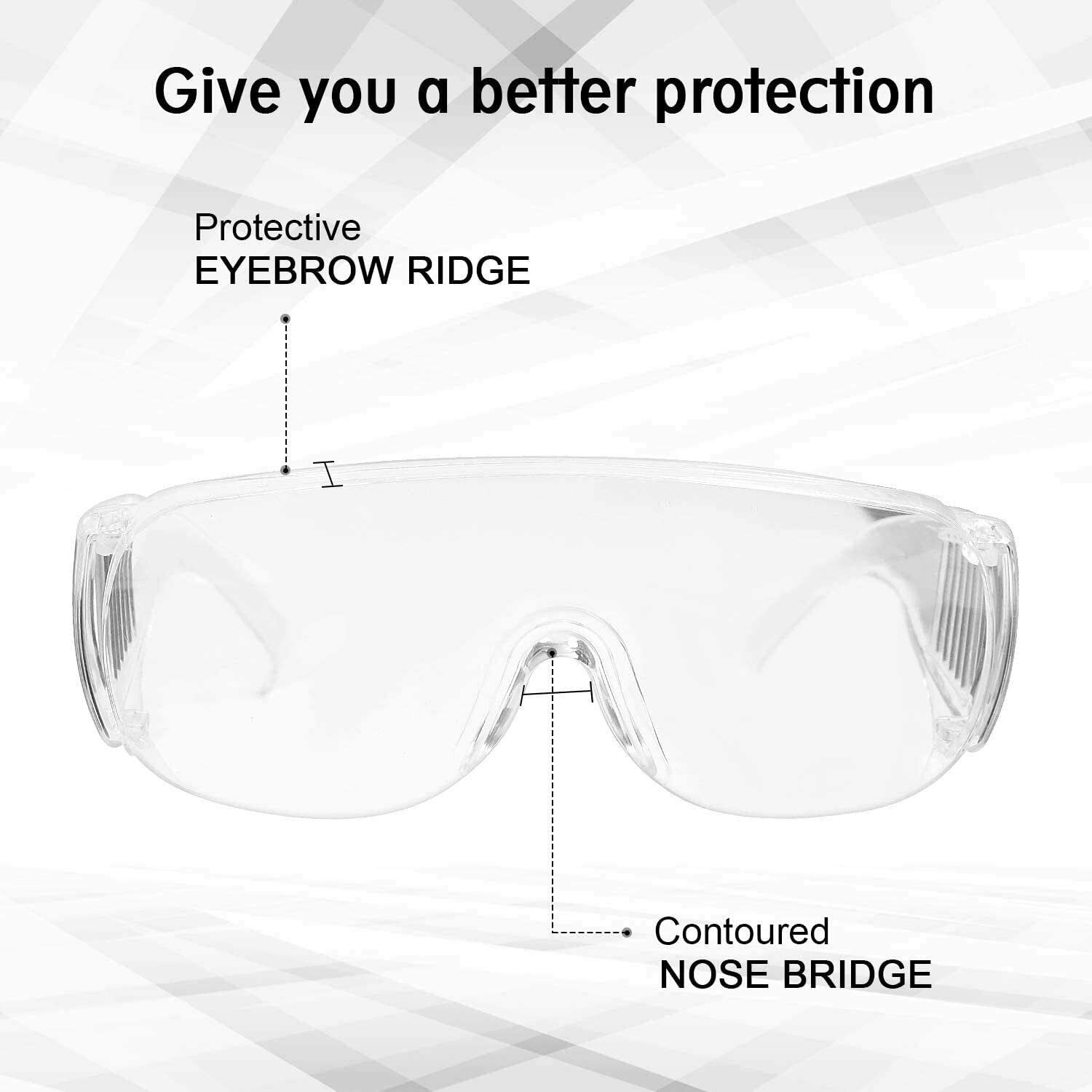 Fonetic Solutions Transparent Safety Goggles Eye Protection Anti Fog Clear Vent Protective Glasses For Work Lab Dust Wind Eye Protection Glasses Pack of 1