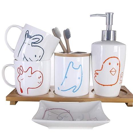 Kids Bathroom Accessories Sets.Brandream Cute Cartoon Giraffe Owl Bathroom Accessories Set