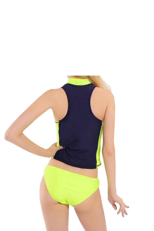 e5c08cb8b66b0 Amazon.com: 2017 Navy Blue and Fluorescent Yellow Print Bikini Two Piece  Swimsuit Professional Tankini With Padded High Neck Swimwear: Clothing