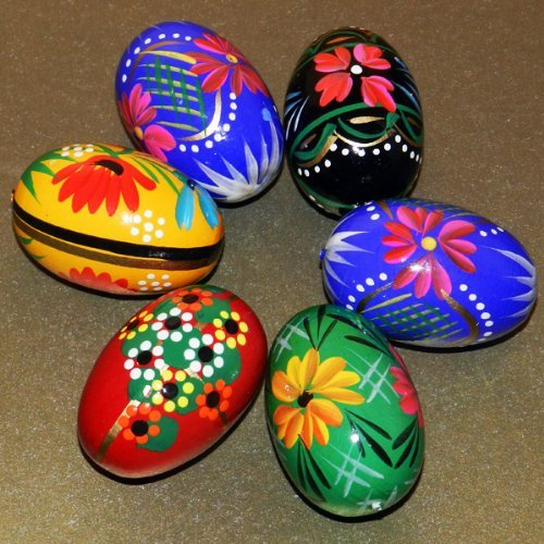 6 Polish Wooden Eggs - Pysanky Wooden Easter Hand Painted Egg ()