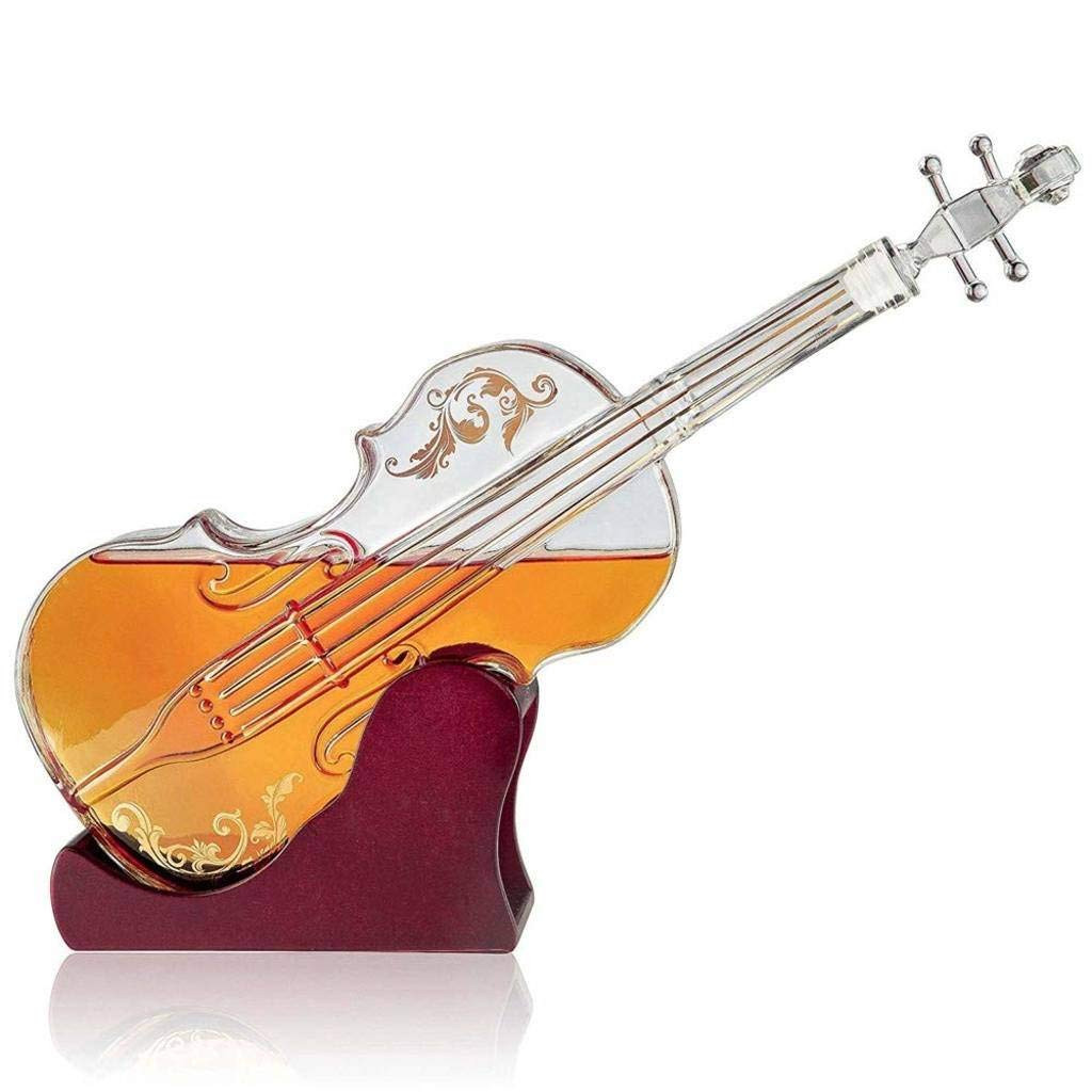 G.CHEN Whiskey Decanter, with Stopper - Violin-Shaped White Wine Decanter - Wooden Base, for Liquor, Scotch, Bourbon, Vodka - 1000ml
