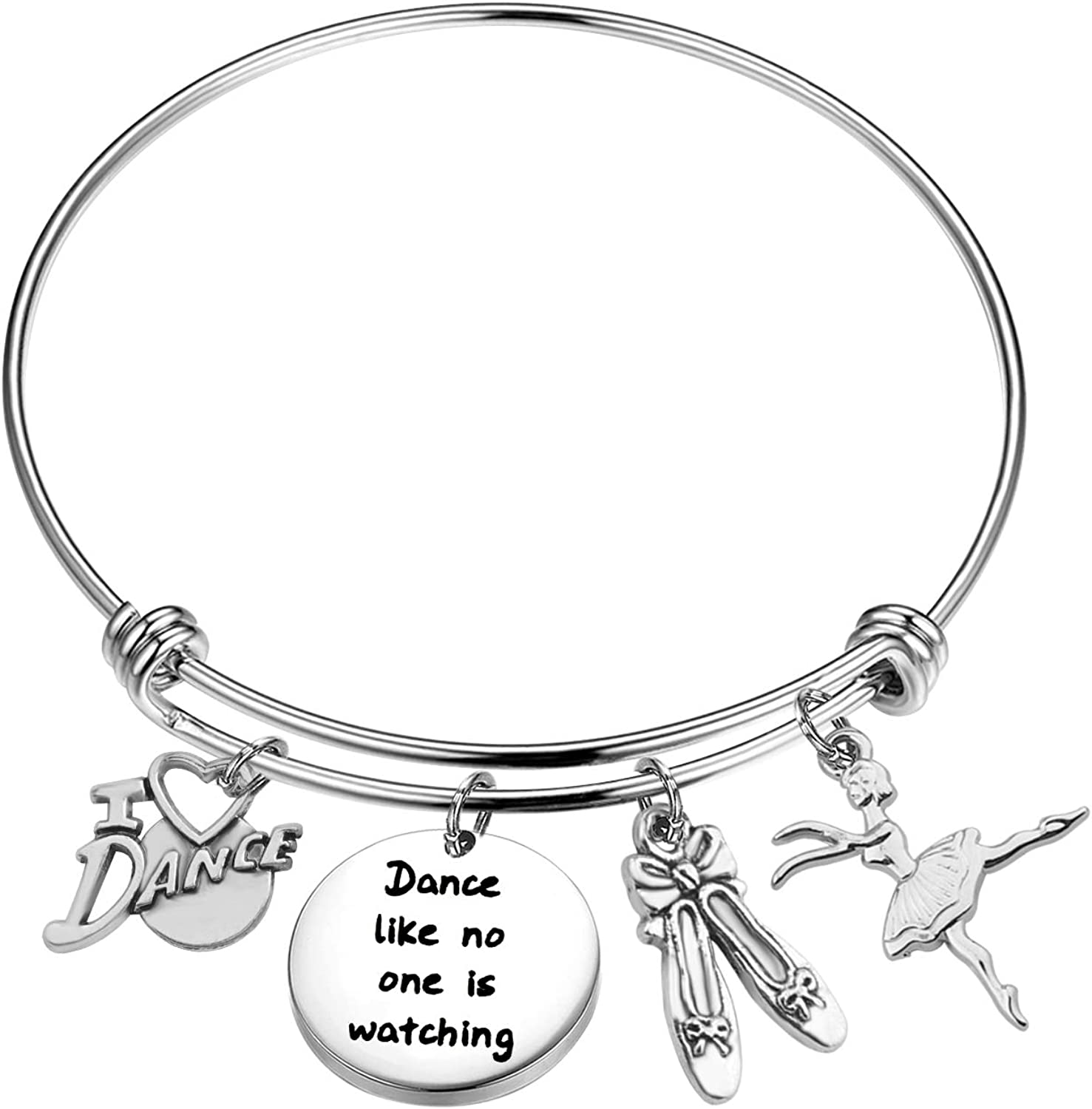 bobauna Dance Like No One is Watching Bracelet I Love Dance Bracelet Dance Jewelry Gift for Dancer